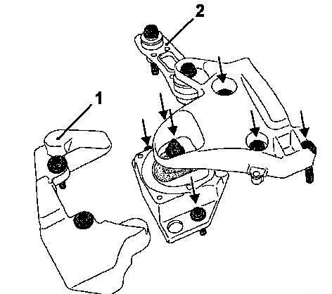 Снятие правой опоры двигателя